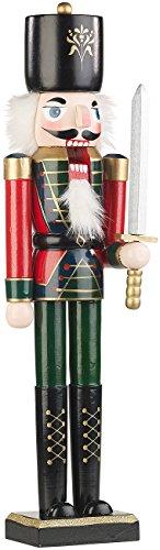 infactory Weihnachtsschmuck: Handbemalter Deko-Nussknacker Soldat im Erzgebirge-Stil, 48,5 cm (Weihnachtsdeko Nussknacker)
