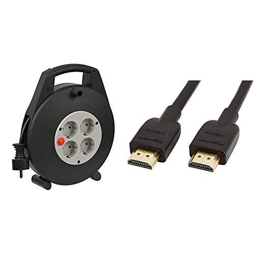 Brennenstuhl Vario Line Kabelbox 4-fach/Mini-Kabeltrommel schwarz/grau & Amazon Basics Hochgeschwindigkeits-HDMI-Kabel 2.0, Ethernet, 3D, 4K-Videowiedergabe und ARC, Ultra-HD, 3 m