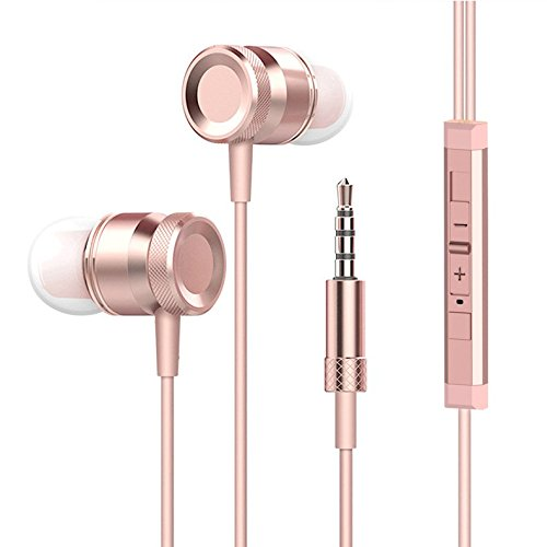 Wired Headphone Metal Earbuds by Amasing Noise Cancelling Stereo Heave Bass Earphones with Micphone Mic with Volume Control,in Ear Headphones Magnetic Design for iPhone 5 6 Pink Samsung M9