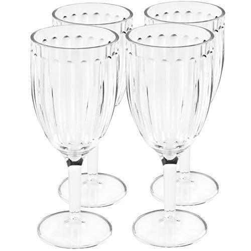 4X Trinkglas 4er Set Weinglas Plastikglas Kunststoff Glas Campinggeschirr Zubehör Picknick Gläser 370ml Trinkbecher Kunststoff Wasserglas Rotwein Weißwein Wein Partyzubehör Campingküche elegant klar