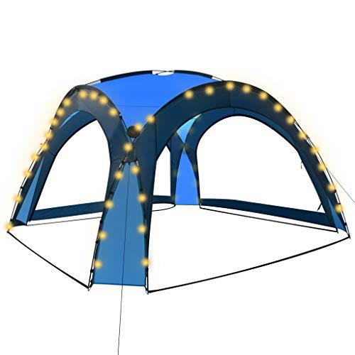 vidaXL Carpa de Celebraciones con LED y 4 Paredes Pabellón Tienda Toldo Fiestas Eventos al Aire Libre Terraza Jardín Exterior Azul 3,6x3,6x2,3 m