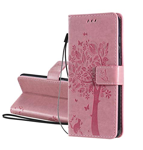 HAOYE Hülle für LG K41S / LG K51S, Retro Geprägt Muster Design Leder Brieftasche Flip Handyhülle, Kartenfach & Magnet Kartenfach Schutzhülle für LG K41S / LG K51S, Rosa