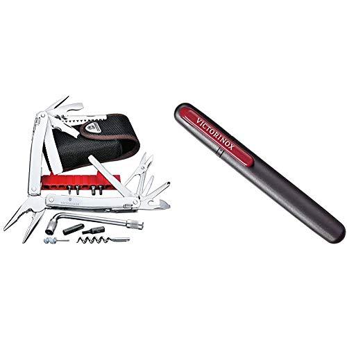 Victorinox Multifunktionswerkzeug Swiss Tool Spirit XC Plus (35 Funktionen, Nylon-Etui) silber & Schärfen Dual-Messerschärfer Anspitzer, schwarz/Rot, One Size