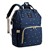 Qimiaobaby Diaper Bag Backpack, baby Nappy storage travel bag (Blue flower)