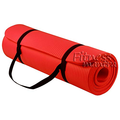 Fitness Mantra Yoga Mat with Strap for Gym Workout and Yoga Exercise with 6mm Thickness, Anti-Slip Yoga Mat for Men & Women Fitness [Qnty.-1 Pcs.][Free Strap][Red Color]