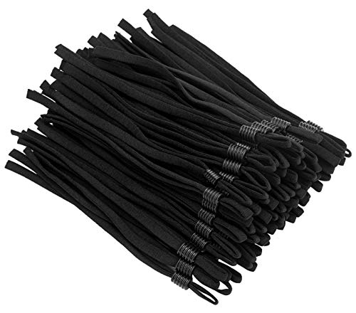 60Pcs Elastic Mask String with Adjustable Buckle, Upgraded Length Elastic Bands Cord for Adult Children, Black