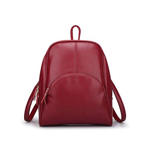 DEERWORD Mujer Bolsos mochila Bolsas escolares Bolsos bandolera Shoppers y bolsos de hombro Cuero de PU Burdeos