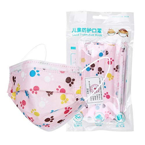 Find Bargain GGGG 10pc 3Ply Non-Woven Bandanas Cute Cartoon Dustproof Face Mouth Breathing for Kids ...