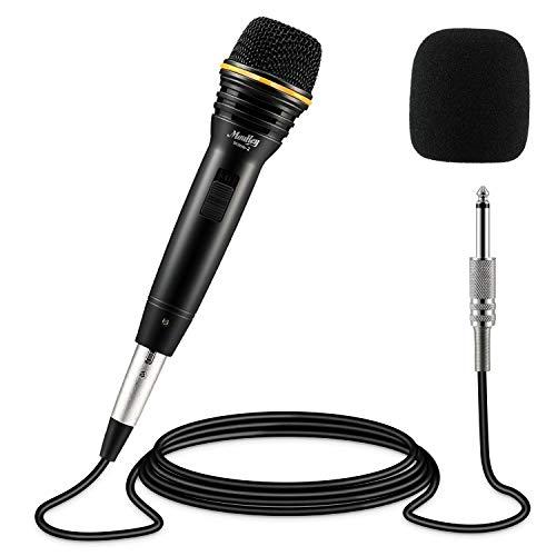 Dynamisches Mikrofon Moukey XLR Karaoke Mikrofon Metall Handmikrofon mit 5M/16.40ft XLR Kabel für Sprache, Hochzeit, Bühne und Outdoor-MWm-2