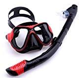 MHSHKS Máscara De Buceo Gafas De Snorkel Kit De Equipo De Snorkel Kits De Snorkel De Buceo Máscaras De Buceo De Fácil Respiración para Adultos O Niños Antivaho Antifugas (Color : Red Kit)