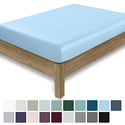 California Design Den 400 Thread Count 100% Cotton 1 Fitted Sheet, Long - Staple Combed Pure Natural Cotton Sheet, Soft & Silky Sateen Weave (Twin XL, Aero Blue)