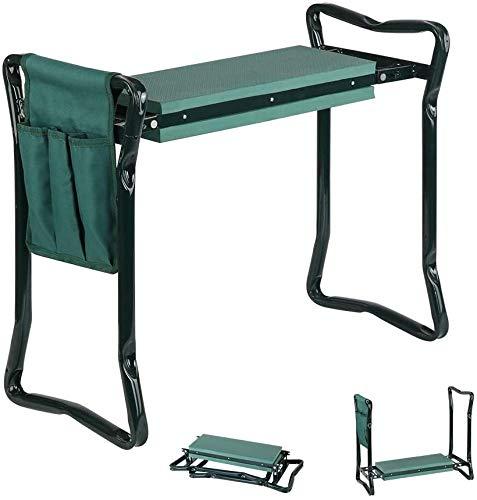 Haven Homes Garden Kneeler - Folding Seat & Kneeler with 2 Garden Tool Pouches + Free Bonus Gardening Gloves
