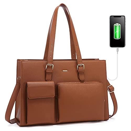 LOVEVOOK Handtasche Damen Shopper Damen Groß Laptop Tasche 15.6 Zoll Aktentasche Leder Businesstasche Damen Arbeitstasche Notebooktasche Schule Taschen (Braun)