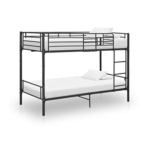 vidaXL Etagenbett Kinderbett Hochbett Metallbett Bett Stockbett Bettgestell Doppelstockbett Schlafzimmer Kinderzimmer Schwarz Metall 90x200cm