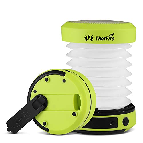 ThorFire Linterna de Camping,Recargable Camping Lámpara,Lámpara de Camping Multifuncional Plegable y Ligera, se Puede Cargar con Manivela y USB, Adecuada para Acampar, Pescar, etc.