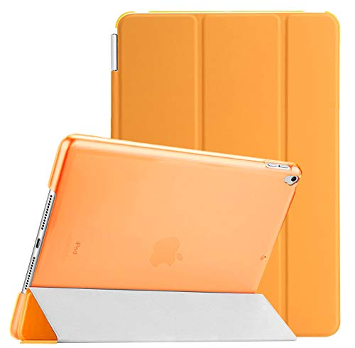 Weuiean Compatible with iPad 7th Generation 10.2 Inch 2019 Case, Dual Separable Leather Cover Folio Stand Shockproof Hard PC Back, Slim Fit Auto Sleep Wake Magnet Cover for A2197 A2198 A2200 - Orange