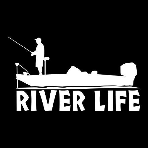 Fisherman River Life Boat Vinyl Decal Sticker | Cars Trucks Vans SUVs Windows Walls Cups Laptops | White | 7 Inch | KCD2427