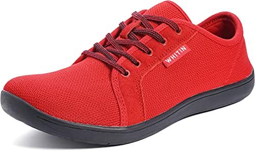 WHITIN Herren Knit Barfussschuhe Traillaufschuh Barfuss Schuhe Barfußschuhe Barfuß Barfußschuh Minimalistische Training Laufschuhe Zehenschuhe Sneaker für Männer Jungen Sportschuhe Rot Schwarz 40 EU