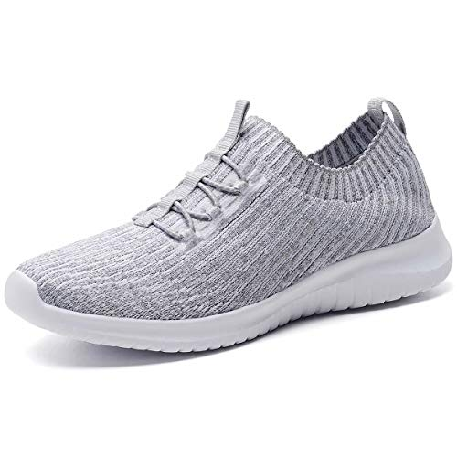 konhill Women's Comfortable Walking Shoes - Tennis Athletic Casual Slip on Sneakers 9 US L.Gray,40