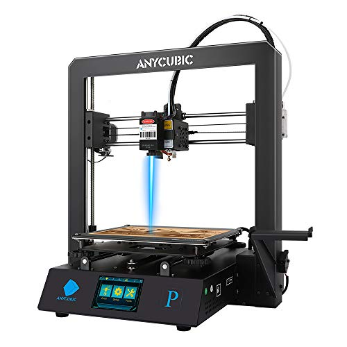 ANYCUBIC 3D Printer Mega Pro, 2 in 1 3D Stereo Printer & Laser Engraving, Noise Reduction, Smart Auxiliary Leveling,Works with TPU/PLA/ABS, 210×210×205mm (Print Size)& 220×140mm(Engraving Size)