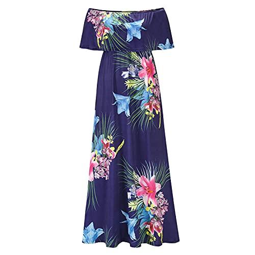 Vestido Floral Bohemio con Cuello En V Y Mangas Cortas con Cuello En V Y Lazo De Verano para Mujer (Azul-1+S)