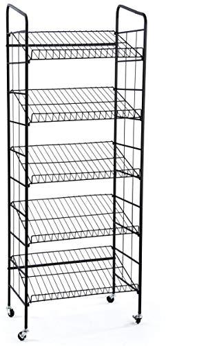 Displays2go BR5GSH24BK Rolling Baker's Display Rack with Five Angled Shelves