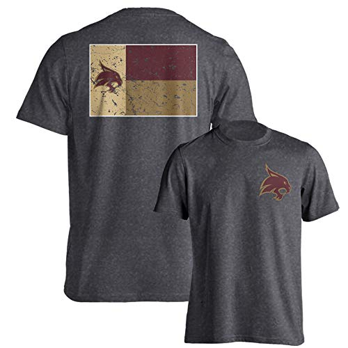 Texas State Bobcats Official Texas Flag Logo Short Sleeve T-Shirt Charcoal Heather 3XL