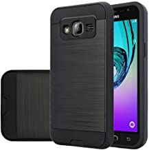 Galaxy J7 Case, Samsung Galaxy J7 [Shock Absorption / Impact Resistant] Hybrid Dual Layer Armor Defender Protective Case Cover for Galaxy J7 (Boost Mobile,Virgin,MetroPcs,T-Mobile), (Brush Black)