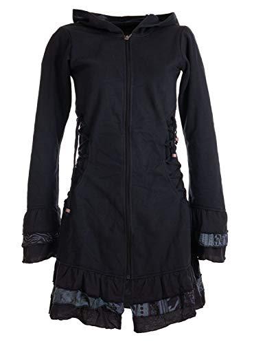 Vishes - Alternative Bekleidung - Elfenmantel aus Baumwolle mit Zipfelkapuze und Rüschen zum Schnüren schwarz 34