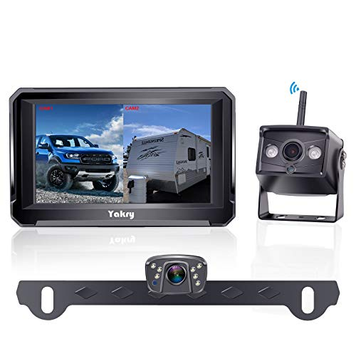 Yakry Y33 HD 1080P Digital Wireless Dual Backup Camera Hitch Rear View Camera for RVs,Trailers,Trucks,5th Wheels,Cars 5''Monitor with Highway Monitoring System IP69K Waterproof Super Night Vision