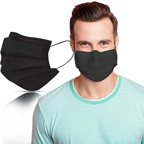 SYMTEX 100 Stück Mundschutzmasken schwarze Masken 3-lagig Mundschutz Gesichtsmaske Einwegmaske mund und nasenschutz (Schwarz)