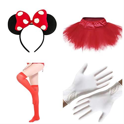 thematys Juego de Disfraces de 4 Piezas de Minnie Mouse para Mujer - Guantes, Cinta para el Pelo, Falda y Medias Carnaval y el Cosplay.