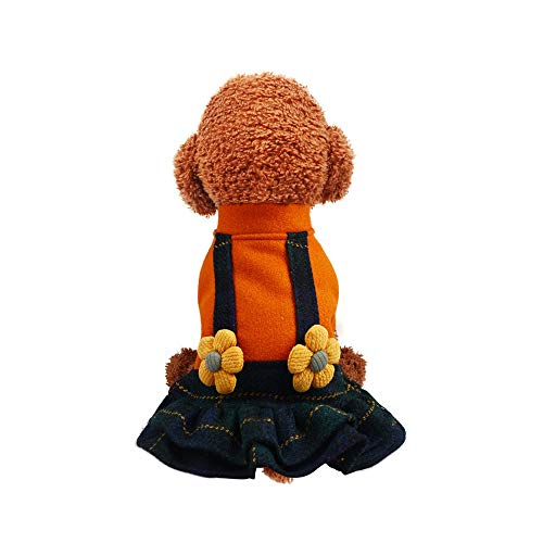 Price comparison product image Oncpcare Cardigan Princess Dog Sweater Dress,  Outdoor Fall Winter Soft Warm Small Pet Dog Clothes,  Cold Weather Strap Wool Skirt Cute Pet Sweater Apparel for Small Dogs Puppy Cats