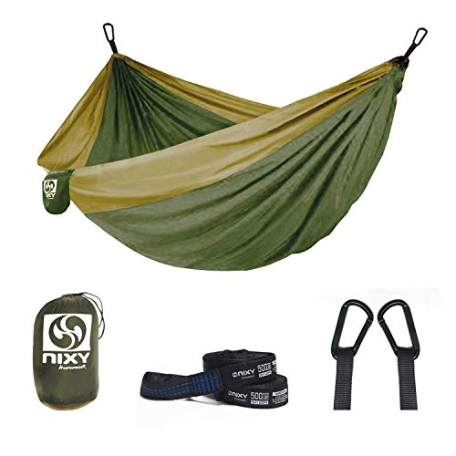 NIXY Double Camping Hammock - Lightweight Portable with Tree Friendly Suspension System Straps, Ripstop Diamond Nylon for Hiking, Camping, Travel, Beach & Backpacking