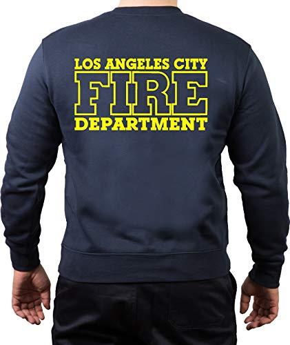 FEUER1 Sweat-shirt bleu marine, Los Angeles City Fire Departement, jaune fluo - Bleu - Small