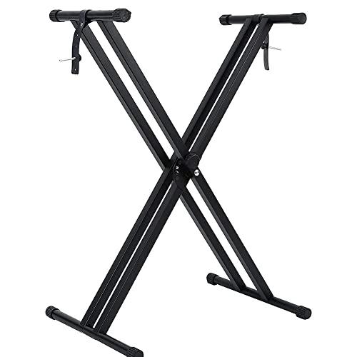X型 キーボードスタンド 電子ピアノスタンド キーボード用スタンド キーボード台 シンセサイザー 二重枠X型 ダブルレッグ 電子ピアノスタンド 楽器安定し電子オルガン ブラケット 6段階高さ調整可能 54/61/73/76/88鍵 ボード適用 Keyboa