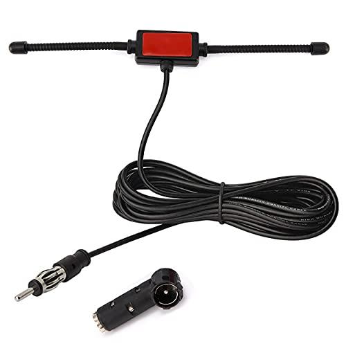 Antena Radio Coche de automóvil Antena para FM Antena Adaptador DIN Interno Amplificado Autoadhesivo Radio de Coche estéreo DIN 41585 a Antena aérea ISO para Antena Coche Universal con Cable de 3m