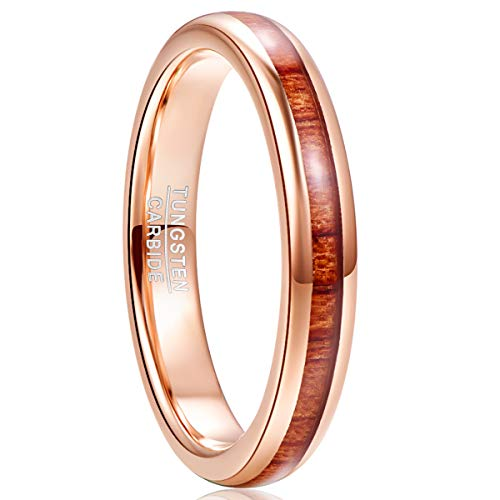 NUNCAD Rings for Men Women Rose Gold Tungsten Wedding Engagement Band Comfort Fit Size L½
