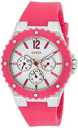 Guess - Reloj analógico de Cuarzo para Mujer con Correa de Silicona, Color Rosa
