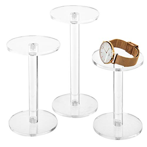 MyGift Set of 3 Clear Round Acrylic Jewelry/Watch Display Pedestal Riser Stands