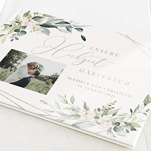 sendmoments Gästebuch mit Ihrem Wunschtext & -Bild gestalten Hochzeit, Tender Florals, hochwertige Blanko-Innenseiten, 32 Seiten oder mehr, Hardcover-Buch, A4 Querformat - Floral Botanik