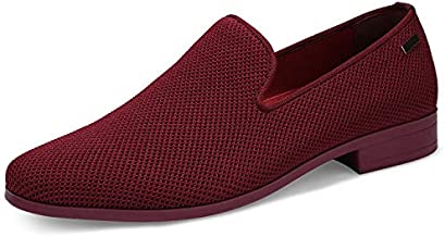 UUBARIS Mens Loafers Dress Shoes Non Slip Driving Shoes Luxury Tuxedo Male Walking Shoes Wine Size 10