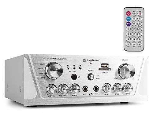 Skytronic 103.131 2.0Kanäle Stereo Silber - AV-Receiver (2.0 Kanäle, Stereo, 500 mV, 8 Ohm, Polklemme, Verkabelt)