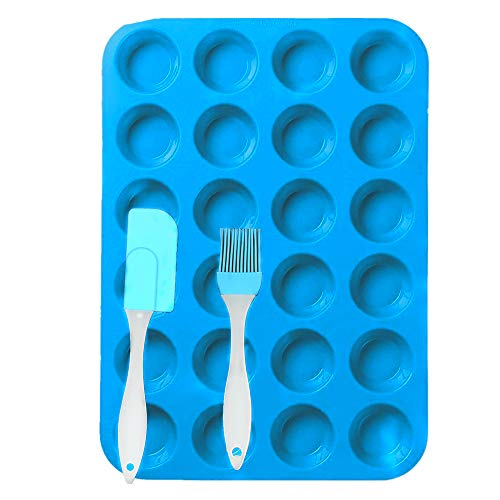 24 Cup Silicone Muffin Mini Cupcak Reusable Tope Baking Pan Set Non Stick cake molds/Dishwasher - Microwave Safe (blue/1pack)