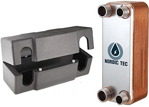 """Intercambiador de calor de placas NORDIC TEC Ba-12-20, 20 placas, 0.24m², max. 45kW, 3/4&1/2"""""""