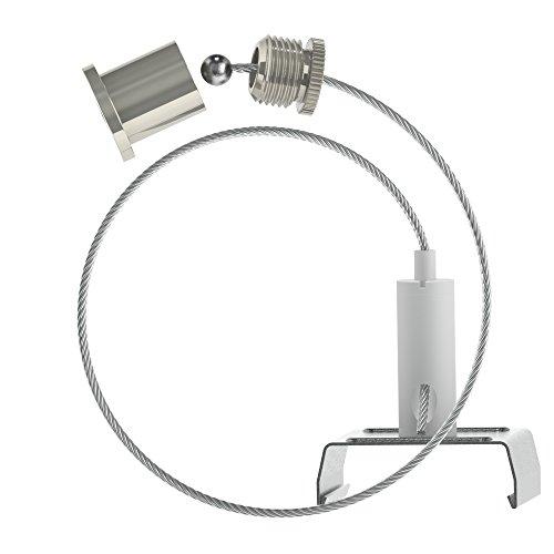 Abhängeset für Eutrac - Stromschienen; weiß ; bestehend aus Deckenbefestiger mit Kappe; Drahtseil Ø1,5mm Länge1500mm, Drahtseilhalter