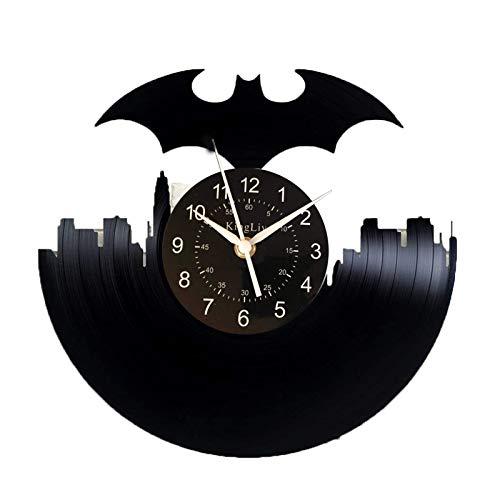 KingLive Batman DC Comics Vinyl Record Clock Batman Handmade Clock Xmas For Her DC Comics Decor For Kid's Room (UK-Batman no led 5)