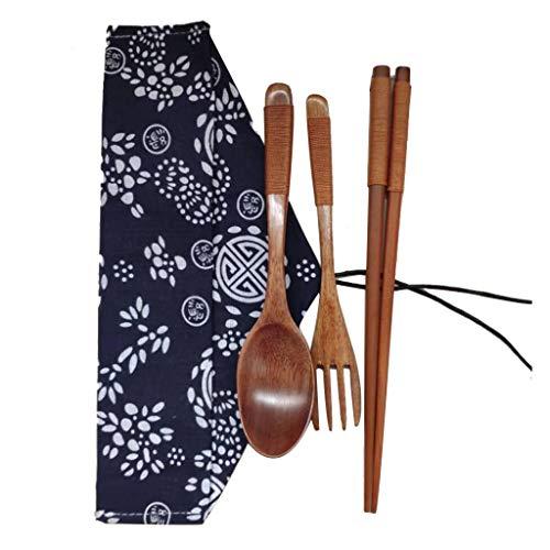 Bearbelly Set de Cubiertos Japonés Vintage Palillos de Madera Cuchara Tenedor vajilla 3pcs Set Nuevo Regalo, Biodegradable vajilla de Madera de Color Natural (1PC)