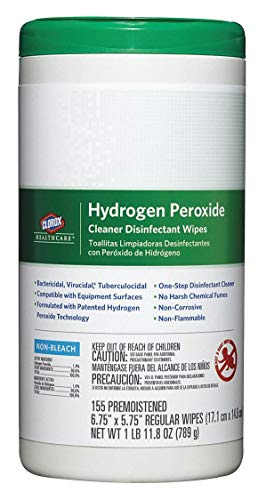 Clorox 30825 Clorox Hydrogen Peroxide Wipes 6.75 X 5.75 155/cn, (Pack of 6)
