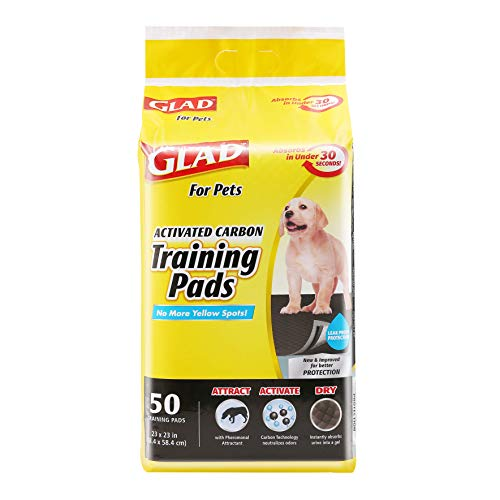 Glad for Pets Black Charcoal Puppy Pads | Puppy Potty Training Pads That ABSORB & NEUTRALIZE Urine Instantly | New & Improved Quality Puppy Pee Pads, 50 count